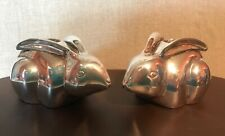 Pottery Barn Silver-Plated (Rabbit / Bunny) Taper Candlestick Holders (Easter)
