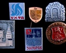 6 Soviet Russian/ Ukrainian cities Badges/ Pins- Coats Arms Russia Ukraine USSR