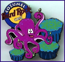Hard Rock Cafe COZUMEL 2001? Purple Octopus PIN Playing Drums Catalog #12305