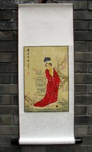 """Chinese silk hanging scroll painting girl lady 31.5x12.6"""" beauty gongbi ink art"""