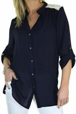 Womens VNeck Button Down Chiffon Shirt Blouse Top Smart Evening Navy Blue Size 8
