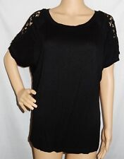"""BULE & SKY"" - BNWT - Size XXL - ""Black"" Crochet Short Sleeve Top"