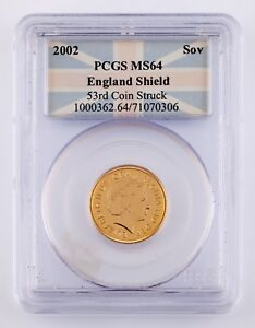 2002 England Shield Gold Sovereign Graded by PCGS as MS-64 (53rd Coin Struck)