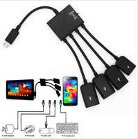 4 en 1 Micro USB Hub OTG Alimentación Cable Carga Adaptador Para Movil Tablet