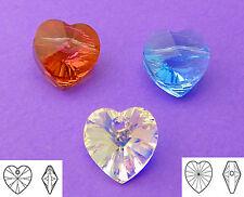 10mm swarovski mixed crystal copper aquamarine coeur perles 6pcs