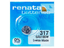 Renata 317 Pila Batteria Orologio Mercury Free Silver Oxide SR516W Swiss 1.55V