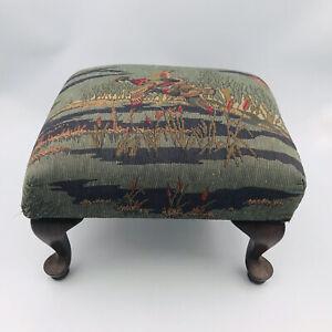 "Flying Mallard Ducks Tapestry Queen Anne Wood Footstool 14"" x 12"" - 9"" Tall"