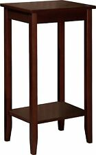 End Table Stand Side Tall Lean Lovely Pedestal Wood Brown Coffee Vintage Style