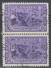 Canada #O261 50¢ OHMS PERFIN MUNITIONS FACTORY PAIR USED