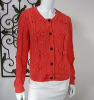 BODEN 100% COTTON CARDIGAN SWEATER SIZE 10 CORAL CREW NECKLINE CABLED 032