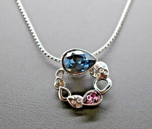 """Blue and Pink Circle Necklace made with Pear Shaped Swarovski Crystals New 16"""""""