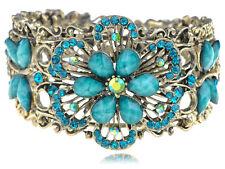 Vintage ish Faux Turquoise Bead Flower Dragonfly Rhinestone Bracelet Bangle Cuff