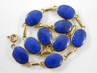 Vintage 18k Yellow Gold and Blue Lapis Lazuli Link Bracelet Oval Gemstones