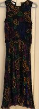 Vintage Oleg Cassini 100% Silk Sleeveless Long Flowing Multi Color Dress Sz 8