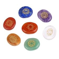 7Pcs/Set Engraved Spiritual Healing Meditation Palm Stones Reiki Chakra Energy~
