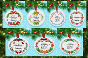 WOODEN Christmas Tree Decorations, 1st Christmas as ...........Personalised dec