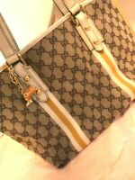 Auth Gucci Shoulder Bag Tote GG Canvas Monogram USED Brown Sherry Line G0366