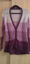 EUC Fat Face Women's Pink Purple Colorblock Cardigan Size L Large 14 16 18