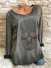 Italy Mode  Langarm Shirt  Strass XL Skull Totenkopf grey 36 38 40 Neu