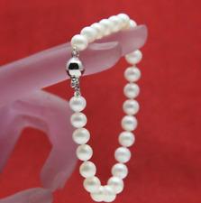 """New 7-8mm Genuine Natural White Freshwater Akoya Pearl Bracelet 7.5"""""""