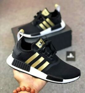 Adidas NMD R1 Women's Boost Running Sneaker Black Gold White FX8833 Multi Sizes