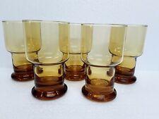 5 x Vintage Retro Amber Glass Drinking Glasses Tumblers 70s
