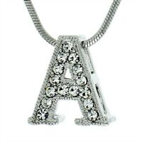 A Letter Charm Pendant Made With Swarovski Crystal Initial Chain Necklace Gift