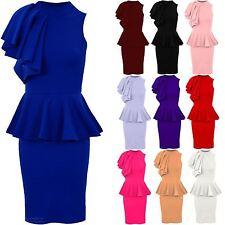 Women's Sleeveless Frill Ruffle Shoulder Ladies Party Bodycon Peplum Dress