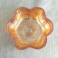 Carnival Glass Bowl Orange Marigold Luster Original Art Deco Glassware