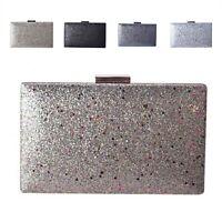 Ladies Metallic Box Clutch Bag Top Clasp Glitter Evening Bag Handbag Purse MMX15