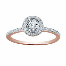 1 Ct Round Cut D/vvs1 Solid 14k Rose Gold Halo Engagement Ring