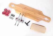 """Bamboo 40"""" Drop Through Longboard With Clear Red Wheels Complete Kit"""