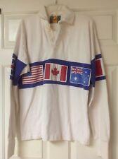 Vintage Dehan Usa Canada Australia Big Flag Rugby Polo Men's Shirt Large *Rare*