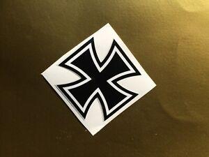 Iron Cross stickers/decals -  black & white X2