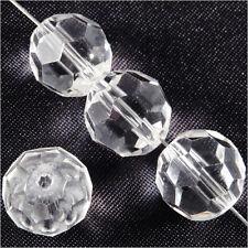 Lot de 10 perles à FACETTES 12mm en Cristal de Bohème Transparent