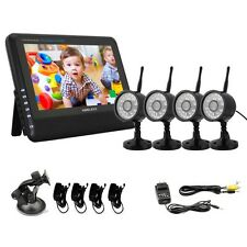 "HOT Wireless 4CH Quad DVR 4 Cameras Security system with 7"" TFT-LCD Monitor Home"