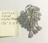 "Vintage Signed Crystal Brooch 1 1/2"" X 2 1/2"""