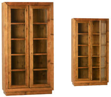 Stunning Solid Oak Wood/Glass 4 Shelves Bookcase/Cabinet,42'' x 78''H.