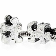 Autism Awareness Jigsaw Puzzle Piece Charm Beads For Snake Chain Charm Bracelet
