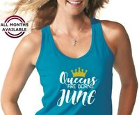 Tank Top QUEENS Are Born in June #4 T Shirt Birthday Gift For Women Spring Tee