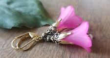 Large Flower Earrings Statement Pink Lucite Trumpet Bronze Gold Handmade