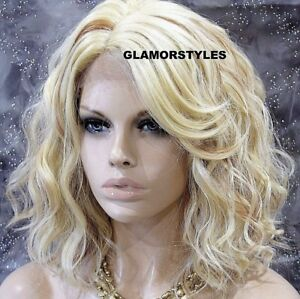 HUMAN HAIR BLEND LACE FRONT FULL WIG BOB WAVY LAYERED BLEACH BLONDE MIX HEAT OK