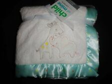 NWT Carter's Child of Mine Safari Giraffe Elephant Unisex Plush Blanket Satin NE