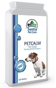 Natural Dog Calming Tablets for Anxiety Stress Aggression Nervous Worried Pets.