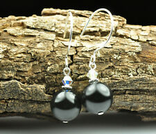 Black Crystal Pearl Earrings Sterling Silver Filled Made With Swarovski Crystal