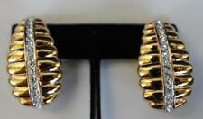 Vintage Signed NOLAN MILLER Rhinestones Oval Shape Clip-On Earrings