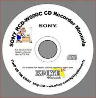 SONY RCD-W500C Service & Owner's Manuals cd-dvd Recorder Deck KJ4IYE - PDF on CD