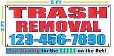 TRASH REMOVAL w CUSTOM PHONE Banner Sign 2x5