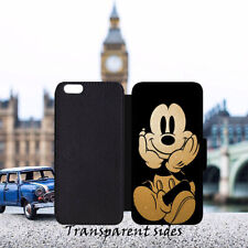 Golden Mickey Leather Flip Wallet Phone Case Cover