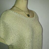 Ann Taylor Loft Women Top Small Cream Sweater Open Knit Pull Over Short Sleeve